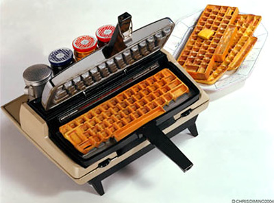 keyboard wafflemaker Typewriter Repurposed into a Keyboard Waffle Maker