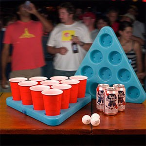 Beer Pong Rack with Freezable Center