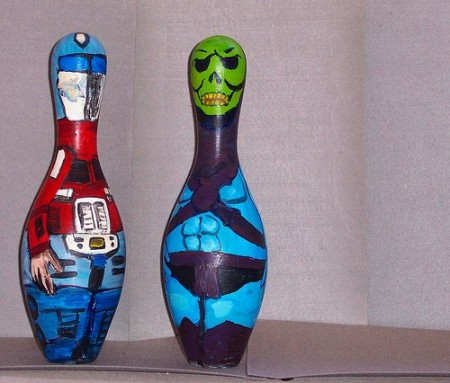 bowling pins skeletor optimus 450x383 Bowling Pin Art: Mario Bros., Star Wars, Zelda