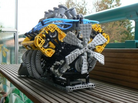 Working V8 Engine Made of Legos