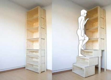 Bookcase Pulls Out to Become Stairs