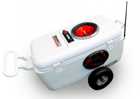 BoomCooler is a Stereo in a Wheeled Cooler