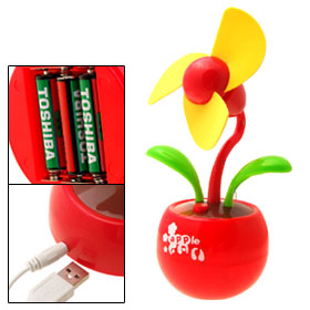 USB Red Apple Base Flower Fan Device WTF