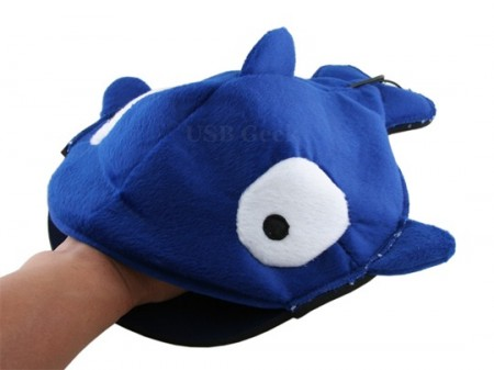 Fuzzy Blue Fish is a USB Handwarmer Mousepad Cover