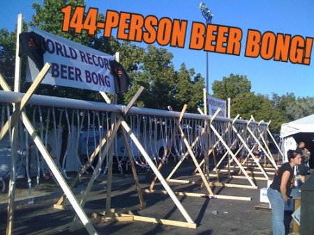 worlds largest beer bong 450x337 144 Person Beer Bong is Worlds Largest