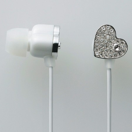 Ultimate Blinged Out Earphones- Diamond Tiara Hearts