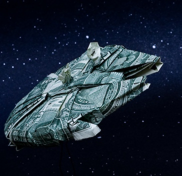 Incredible Star Wars Dollar Bill Origami Spaceships