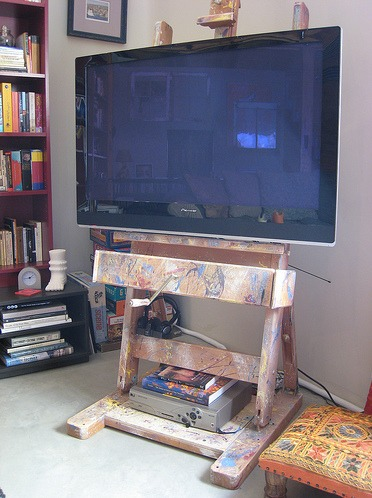 Painter's Easel Used as HDTV Stand