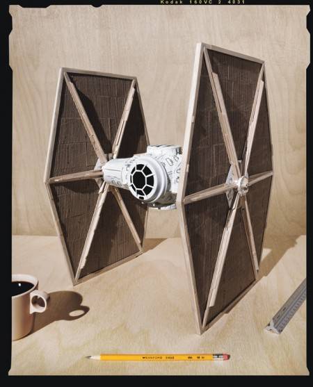 Tie Fighter Made from Starbucks Trash