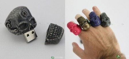 2GB USB Flash Drive Skull Ring in a Rainbow of Colors