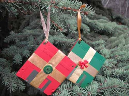 DIY Diskette Present Christmas Ornament