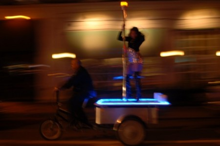 stripper pole bicycle 450x300 Bicycle Rickshaw with a Stripper Pole is Like a Mobile Strip Club