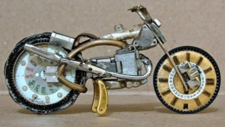 Miniature Motorcycles Made from Watch Parts
