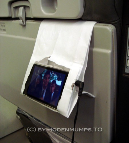 Airplane Barf Bag Modified as an iPhone Holder