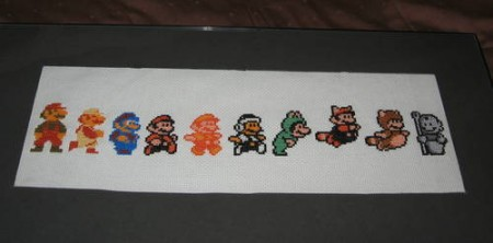 History of Mario in a Cross Stitch