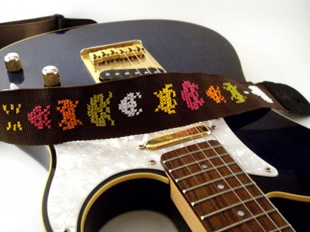 space invaders guitar strap 450x337 Keep on Rockin in the Geek World with Space Invaders Guitar Straps