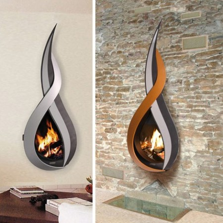 Wall Mounted Fireplaces Sort of Look Like Flames