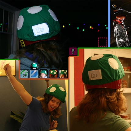1-Up Mushroom Bike Helmet Rain Cover will keep you Dry, Geeky