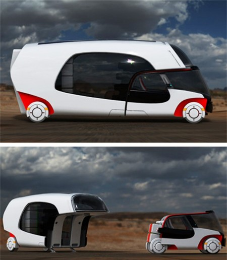 Motorhome with a Detachable Car Built In
