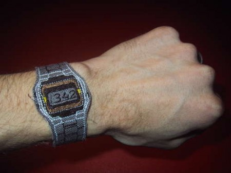 Embroidered Digital Casio Watch is Only Right Twice a Day