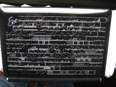Eee Netbook Laser Etched with Every Super Mario Land Level
