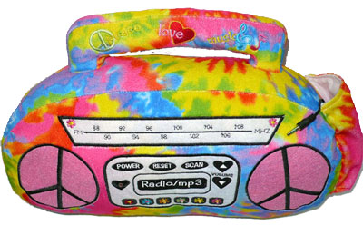 Tie Dye MP3 Playing Boombox and Guitar Pillows