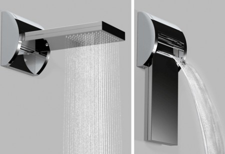 Unique Showerhead Flips from Rainfall to Waterfall Style Easily