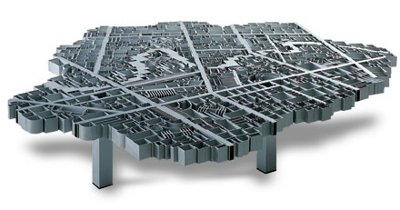 $45000 Aluminum Map of Baghdad Coffee Table