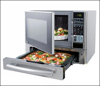 Microwave Oven with a Pizza Drawer Underneath