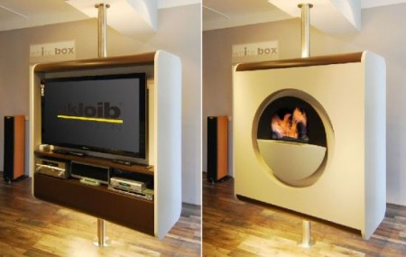 Rotating TV and Fireplace Combo Unit