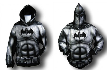 batman full image hoodie 450x295 Batman Full Image Zip Up Hoodie Doubles as a Mask
