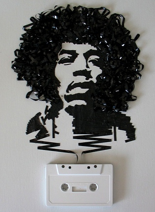 Awesome Musician Portraits Made of Unwound Cassette Tapes