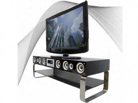 tvstandspeakers1 450x337 Powerful TV Stand with Built in Speakers