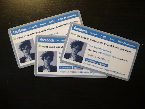 Facebook Styled Business Cards