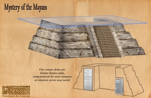 Mayan Temple Desk is Ideal for Making your 2012 Plans