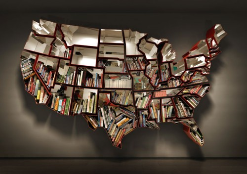 united states map bookshelf 500x352 United States Map Bookshelf