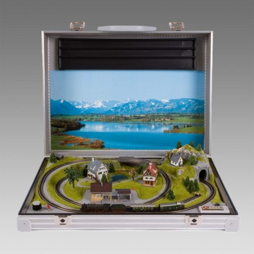 Model Train Set in a Briefcase