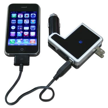 Hottips iPod/iPhone Charger has a 12v Car Adapter and Wall Charger in One