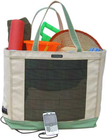 solar beach tote Juice Bag: Solar Powered Beach Tote Bag