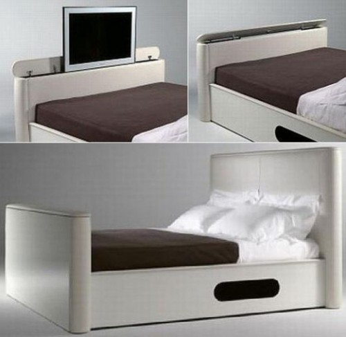 double bed with tv