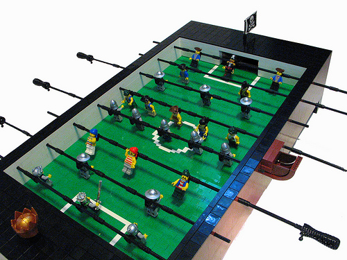 lego minifig foosball table