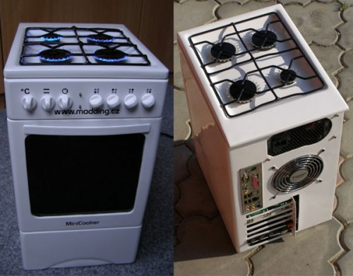 Miniature Oven Stovetop PC Casemod is Hot