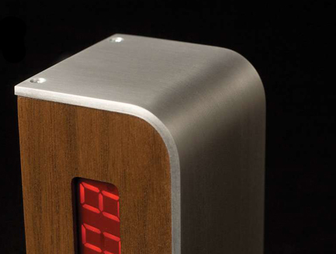sideways alarm clock closeup