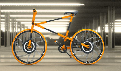 Folding Wheels on a Collapsible Bicycle Concept