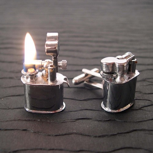 Cufflinks That Are Also Mini-Lighters