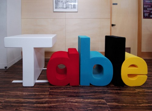 Table Table Spells out Table with it's Chairs