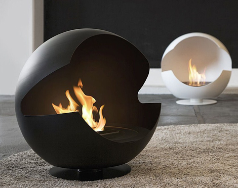 A Fireplace that Looks Like an Egg Chair