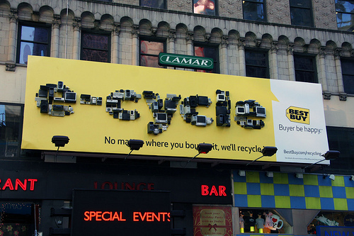 Best Buy's Billboard Made of Recycled Electronics