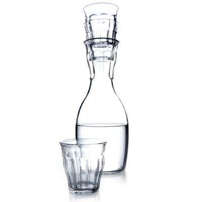 Carafe with Stacking Glasses on Top