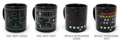 Space Invaders and Pac-Man Heat Changing Mugs
